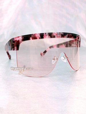 Akira Oversized Shield Sunglasses Pink Camo 2