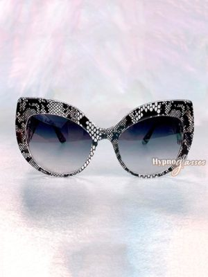 Celia Oversized Cat Eye Sunglasses Gray Snakeskin 1