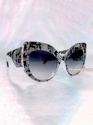 Celia Oversized Cat Eye Sunglasses Gray Snakeskin 2