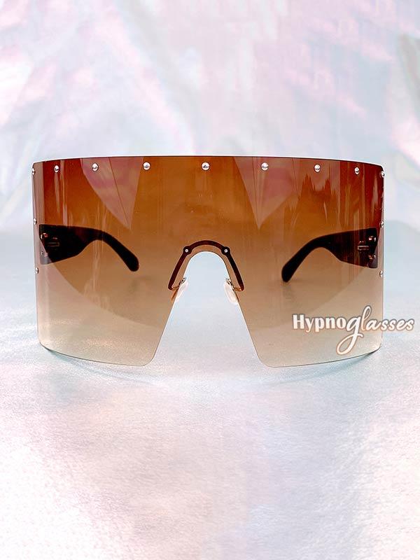 Defender Oversized Shield Sunglasses Brown 1