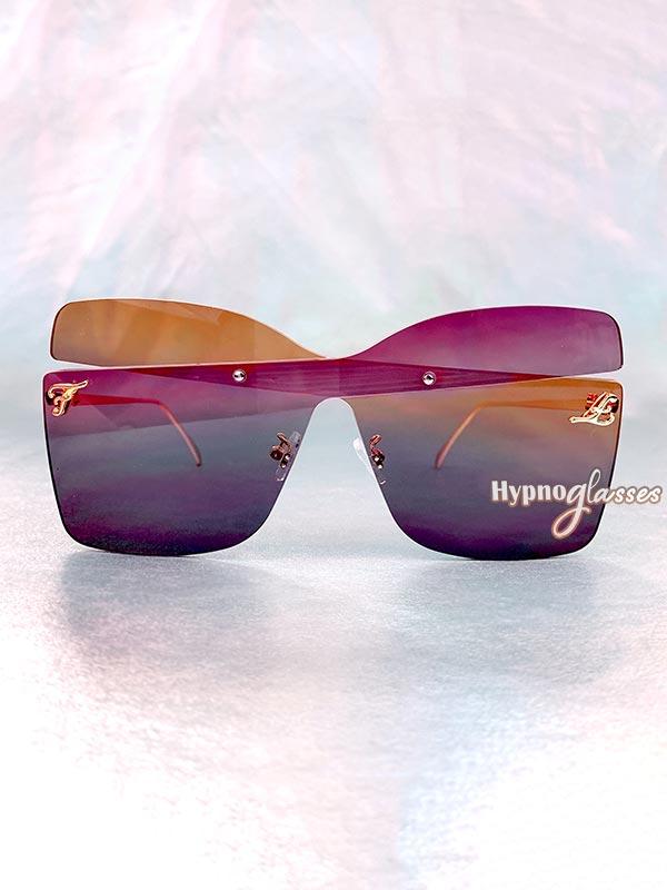 Farfalla Oversized Butterfly Sunglasses Purple 1
