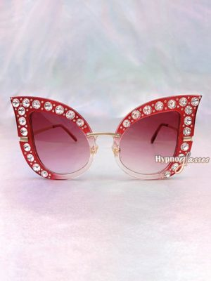 Cathy Rhinestone Cat Eye Sunglasses Red 1
