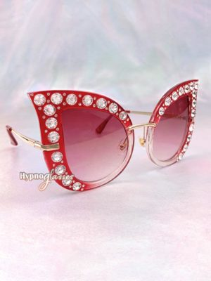 Cathy Rhinestone Cat Eye Sunglasses Red 2