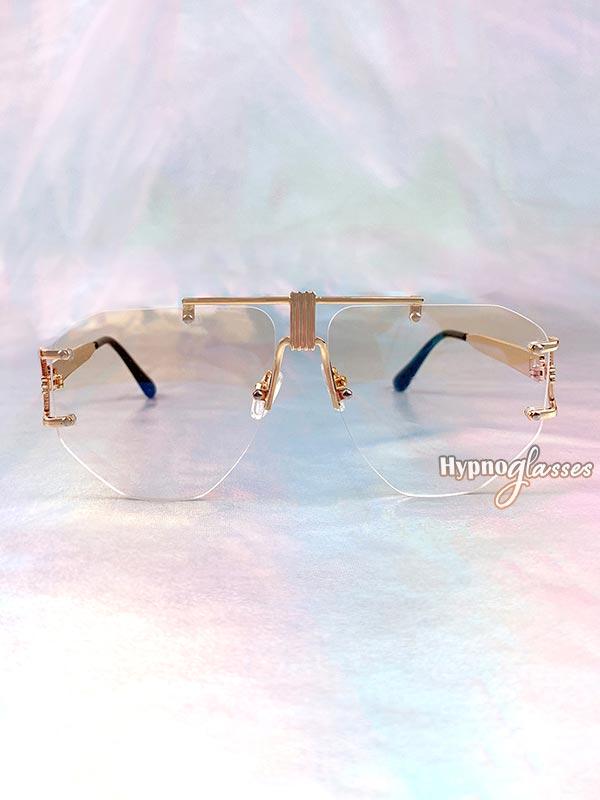 Eir Rimless Aviator Sunglasses Clear 1