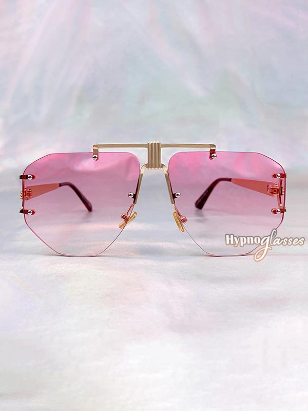 Eir Rimless Aviator Sunglasses Pink 1