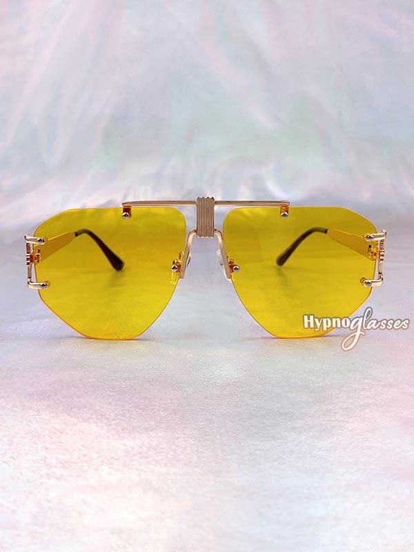 Eir Rimless Aviator Sunglasses Yellow 1