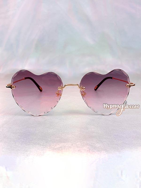 Mila Rimless Heart Sunglasses Purple 1