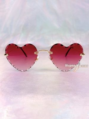 Mila Rimless Heart Sunglasses Red 1