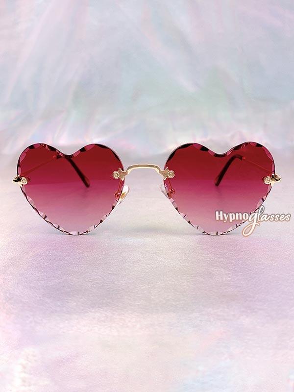 Mila Rimless Heart Sunglasses Red 1