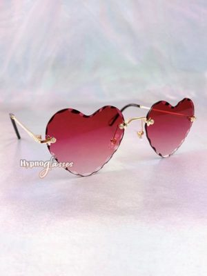 Mila Rimless Heart Sunglasses Red 2