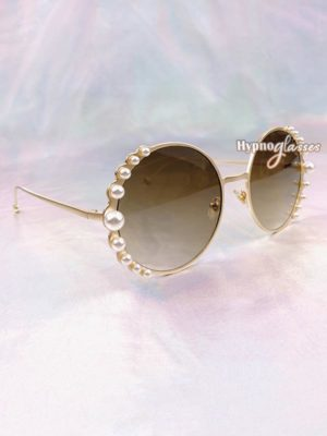 Pearl Round Sunglasses Brown 2