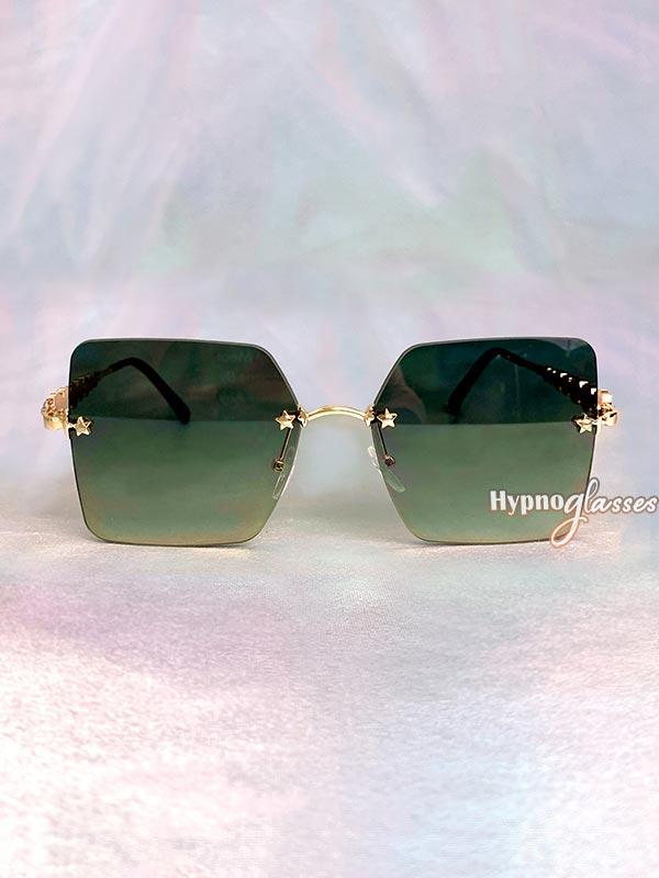 Leah Rimless Sunglasses Green 1
