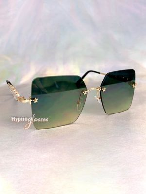 Leah Rimless Sunglasses Green 2