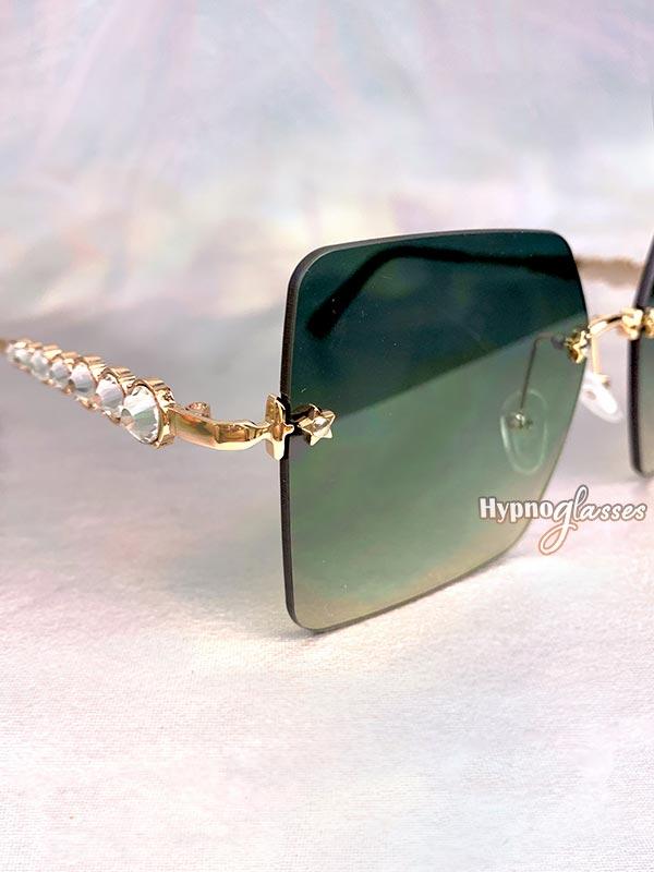 Leah Rimless Sunglasses Green 3