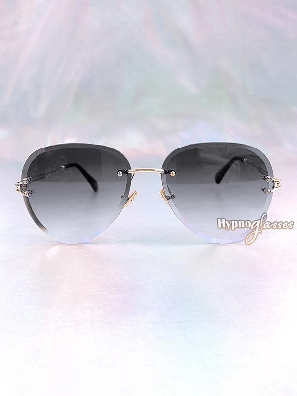 Linda Rimless Aviator Sunglasses Black