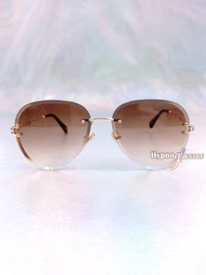 Linda Rimless Aviator Sunglasses Brown 1