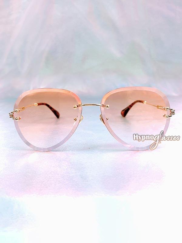 Linda Rimless Aviator Sunglasses Orange 1
