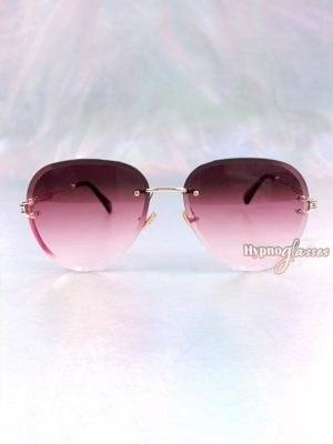 Linda Rimless Aviator Sunglasses Red 1