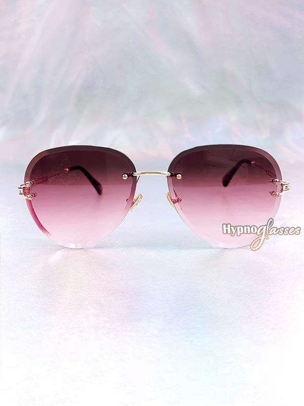 Linda Rimless Aviator Sunglasses Red 1