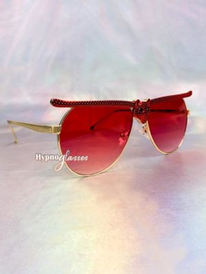 Bat Halloween Aviator Sunglasses Red 2