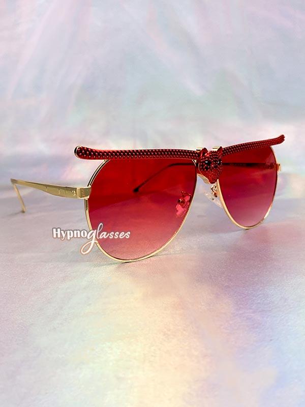 Bat Halloween Aviator Sunglasses Red 2