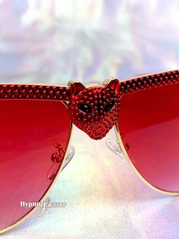 Bat Halloween Aviator Sunglasses Red 4