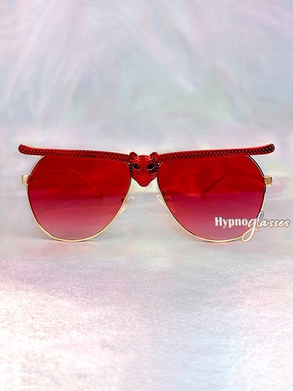 Bat Halloween Aviator Sunglasses Red 1