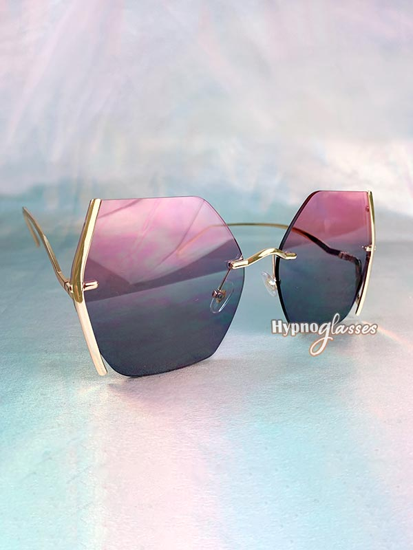 Mia Butterfly Rimless Sunglasses Gray Pink 2