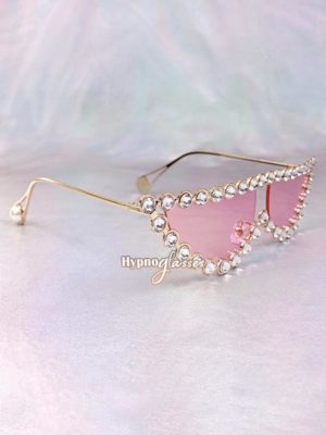 Catwalk Small Cat Eye Rhinestone Sunglasses Pink 2