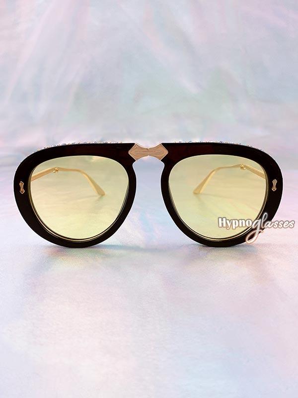 Couture Foldable Aviator Sunglasses Yellow 2