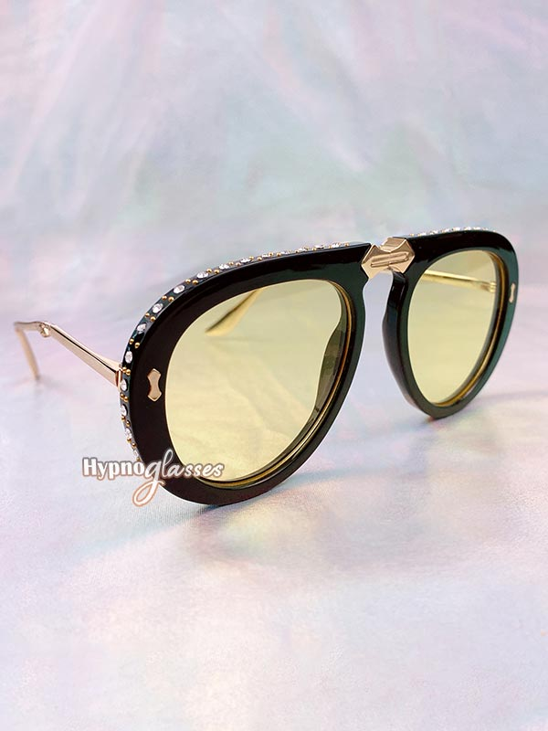 Couture Foldable Aviator Sunglasses Yellow 1