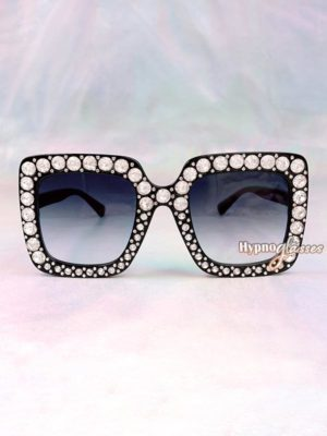 Glam Square Rhinestone Sunglasses Black 1