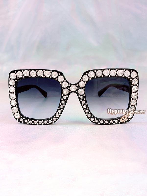 Glam Square Rhinestone Sunglasses Black 1