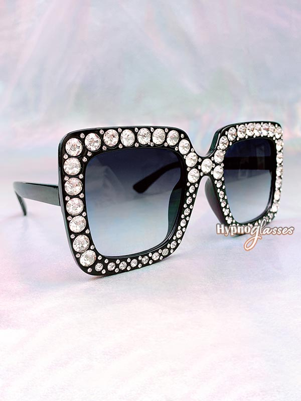 Glam Square Rhinestone Sunglasses Black 2
