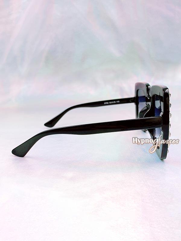 Glam Square Rhinestone Sunglasses Black 3