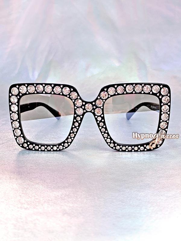 Glam Square Rhinestone Sunglasses Clear 1