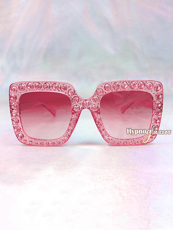 Glam Square Rhinestone Sunglasses Pink 1