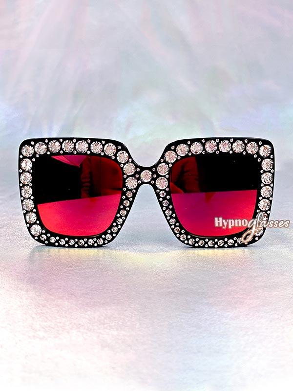 Glam Square Rhinestone Sunglasses Red 1