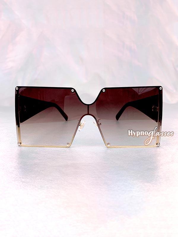 Leto Oversized Square Sunglasses Brown 1