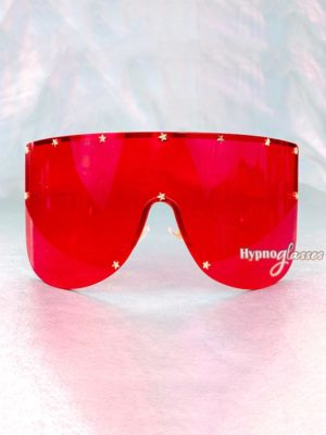 Star Oversized Shield Sunglasses Red 1